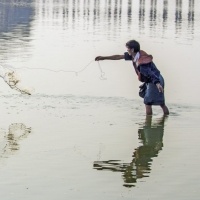 Irrawady fisherman casts his net