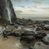 The winning landscape image was 'Waterfall at Druidston Haven' by Monica Doshi